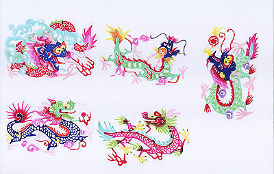 Chinese Paper Cuts Dragon SET 9 Colorful small Single pieces Zhou
