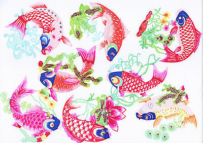 Chinese Paper Cuts Common Carp Fish Set 8 colorful small Single pieces Zhou