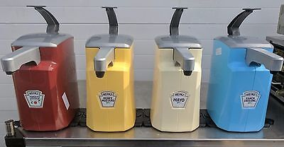 (4) Keystone Commercial Pump Condiment Dispensers Ketchup/Mustard/Mayo/Ranch s
