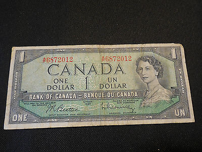 Bank of Canada 1954  $1 One Dollar Canadian - Good Condition