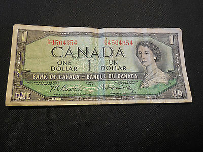 Bank of Canada 1954  $1 One Dollar Canadian - Good Circulated Condition