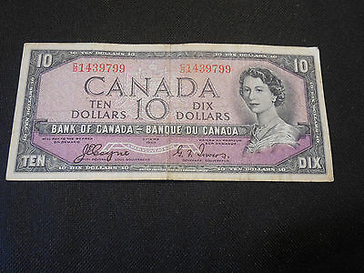 Bank of Canada 1954  $10 Ten Dollars Devil's Face - Very Good Thick & Crisp