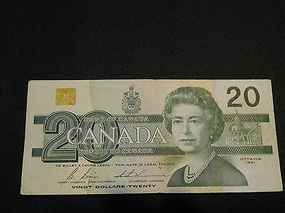 Bank of Canada 1991  $20 Twenty Dollars Canadian RADAR Note - Very Good - No BPN