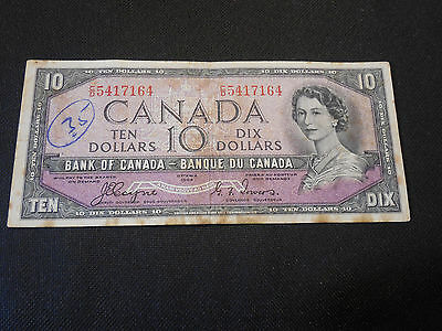 Bank of Canada 1954  $10 Ten Dollars Devil's Face - Good Circulated Condition
