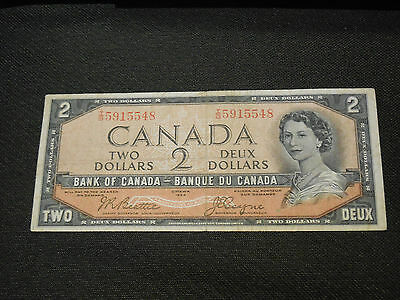 Bank of Canada 1954  $2 Two Dollars Devil's Face - Very Good Crisp I/B 5915548