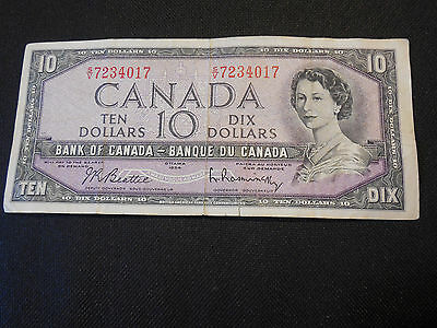 Bank of Canada 1954  $10 Ten Dollars Canadian -- Very Good Condition