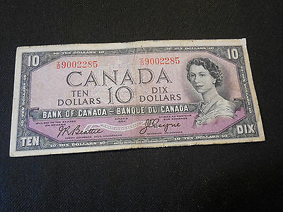Bank of Canada 1954  $10 Ten Dollars Canadian Devil's Face - Very Good Condition