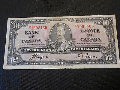 Bank of Canada 1937 $10 Ten Dollars Canadian - Very Good Condition