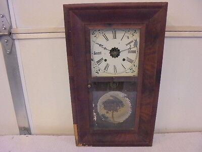 Antique Vintage New Haven Wall Clock Thirty Hour Weight Driven Parts