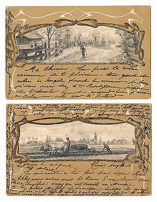 2 Cpa Bs07 Embossed Relief Gaufré Scene Travail Campagne Attelage Champs 1900