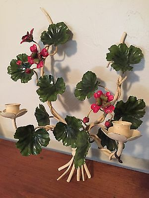 Vintage Metal Floral Toleware Tole Candle Holder Red Flowers GREEN Leaves Italy