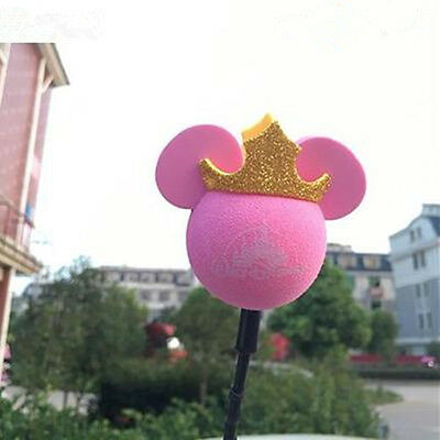 Cute Pink Crown Mickey Antenna Balls Car Aerial Ball Antenna Topper & Decor Ball