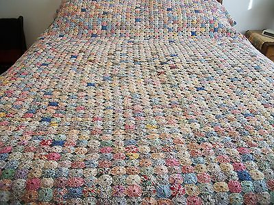 Antique YoYo Quilt Top 1930-40's  Feed Sack Hand Stitched