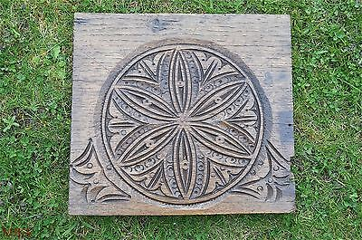 Original hand carved early antique English oak panel wood carving c.1760