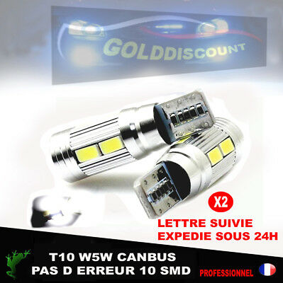 led w5w t10 canbus 10 smd sans erreur odb Blanc pur- voiture moto