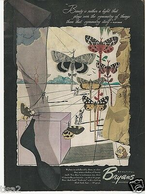 1948 SALVADOR DALI Surreal Butterfly art BRYANS NYLONS Hosiery vintage print Ad