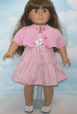 "Pink Dress Sweater Set for 18"" American Girl Doll Clothes"