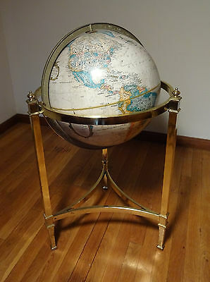 "Vintage 16"" Replogle World Globe In Brass Floor Stand Hollywood Regency Style"