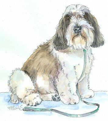 PETIT BASSET GRIFFON VENDEEN Original Watercolor on Ink Print Matted 11x14 R2F