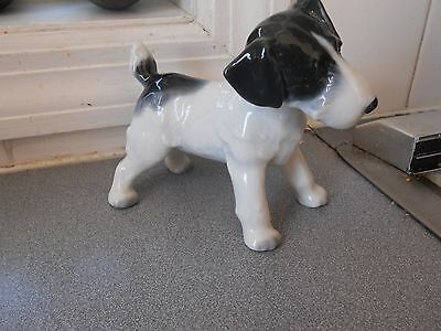 "Lovely Vntge Glossy Ceramic Fox Terrier Figurine Stamped & Numbered 4 1/2"" X 5"""