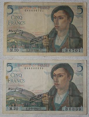 Lot Of 2 Wwii Occupied France, 5 Francs Notes, Paper Money