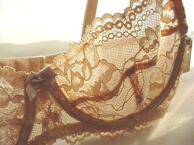 Gilligan and O Malley Sheer Lace Bra Underwire Balconette 34 A NWT Nude Beige