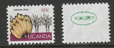 Uganda 3069 - 1977 Bananas 60c SURCHARGE OMITTED -  a Maryland FORGERY unused