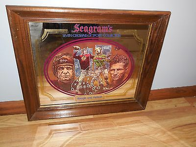 Vtg Seagrams 7 Crown Whiskey Mirror Sign Packers Don Hutson & Redskins Sam Baugh