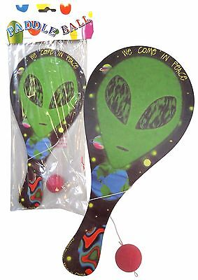 Kids ALIEN 23cm x 10.5cm Paddle Bat Ball Game NEW in Sealed Pack Party Favor