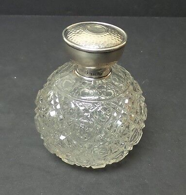 ANTIQUE CUT GLASS DRESSER JAR, ENGLISH STERLING SILVER LID, c. 1866