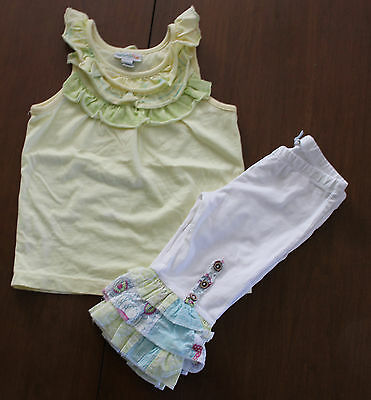Naartjie Kids Girl 2pc Set Outfit Yellow/White top and Pants Sz: S / XS