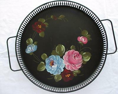 "Vtg Toleware Tole Painted Serving Tray Fine Arts Studio Hand Painted 12"" Shabby"
