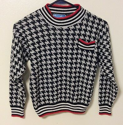 Vintage Boys Merremont Knitwear Black White Red Patterned Sweater, Size Medium