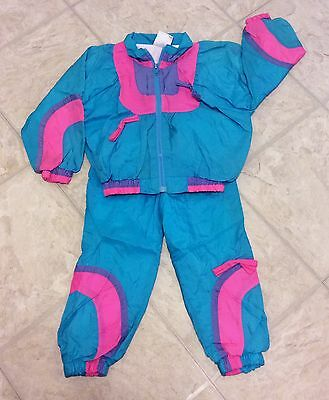 Vintage 1980's London Fog Retro Neon Nylon Windbreaker Track Suit, Size 4t