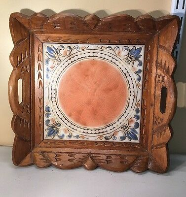 Vintage Hand-Carved Wooden Tray  w/ Handles Ceramic Insert in Center #795