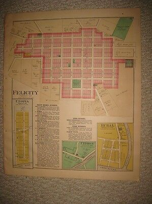 Antique 1891 Felicity Utopia Rural Franklin Township Clermont County Ohio Map Nr