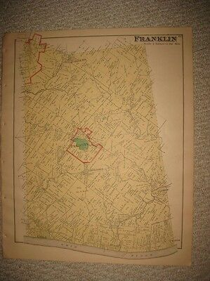 Antique 1891 Franklin Township Felicity Chilo Clermont County Ohio Handcolor Map
