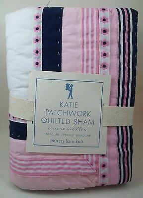 Pottery Barn Kids Katie Quilted Patchwork Sham Standard Pink White Navy Girl #50
