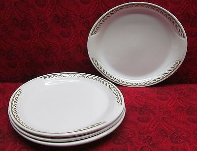 Very Rare Syracuse China Syralite Restaurant Ware Oval Luncheon Plates X 4