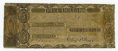 1800's $5 The Hallowell & Augusta Bank - MAINE Note