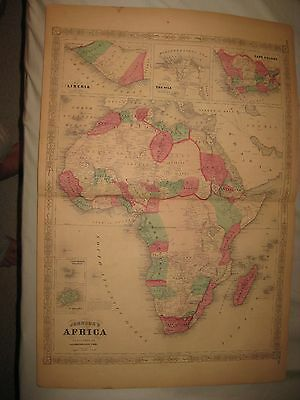 Huge Antique 1868 Africa Johnson Handcolored Map Cape Colony Cape Verde Islands