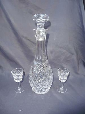 Waterford Comeragh Cut Crystal Cordial Decanter 2 Sherry Glasses Irish Crystal