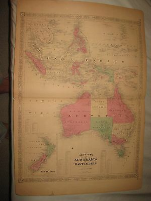 Huge Antique 1868 Australia East Indies New Zealand Johnson Map Van Diemens Land