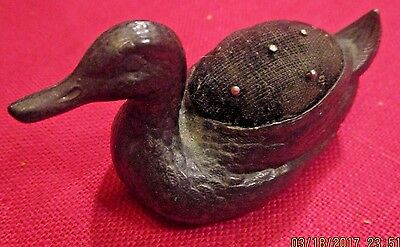 Rare Antique Victorian Figural Duck Black Silverplate Metal Detailed Pincushion