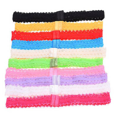10pcs Baby Girl DIY Hairband Headband Lace Elastic Hair Band Headdress Headwear