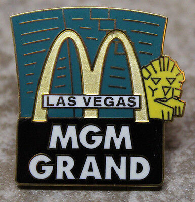 McDonalds MGM Grand Las Vegas Collectible Pinback Pin Button AS-IS Back Repaired