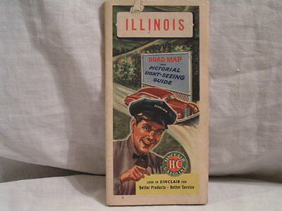 1940's Illinois Road Map By Sinclair Oil Co.