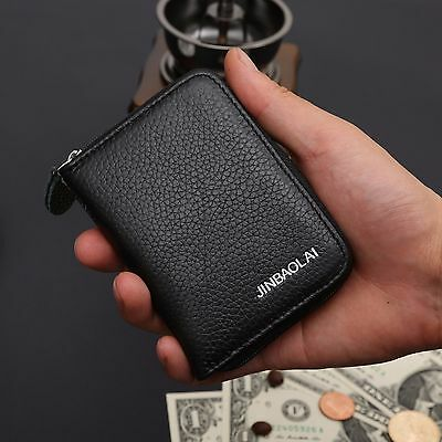 Men's Leather Mini Zip Wallet ID Card Holder Case Coin Purse Clutch Money Clip