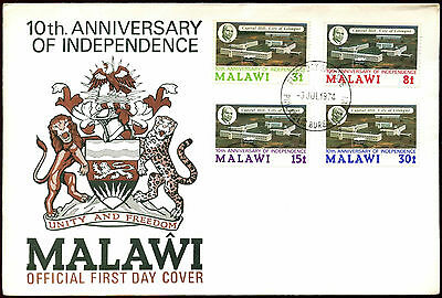 Malawi 1974, 10th Anniv Of Independence FDC First Day Cover #C40045