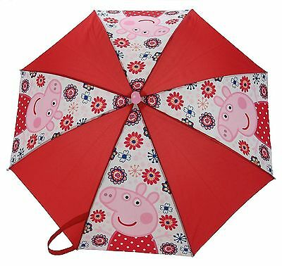 Peppa Pig Tropical Paradise Kids Red and Pink Umbrella Brolly